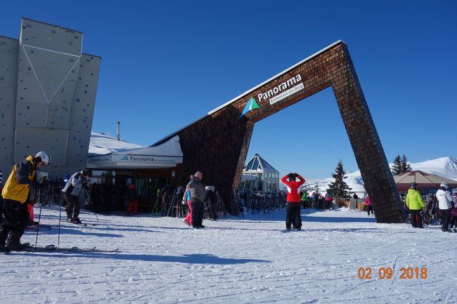 バドガシュタインでスキーをした翌日、ツェル アム ゼー に列車で行くことに。<br />街は綺麗だし、インフォメーション案内所でも、若い綺麗な女性が親切に案内説明してくれました。<br />インフォメーションから徒歩3分の所にある、バス停から約5分でスキー場に到着。<br />ロープウェーで山に登れば、スキー場も快晴。<br />大満足。<br />駅前の湖には白鳥が。<br />最高の景色です。<br />