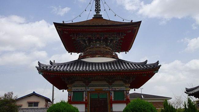 県立加西フラワーセンターからの帰り道、住吉神社と隣の酒見寺を参拝しました。<br /><br />住吉神社は拝殿が工事中でしたが、境内に八重桜が咲いていました。<br /><br />写真は、酒見寺の多宝塔。