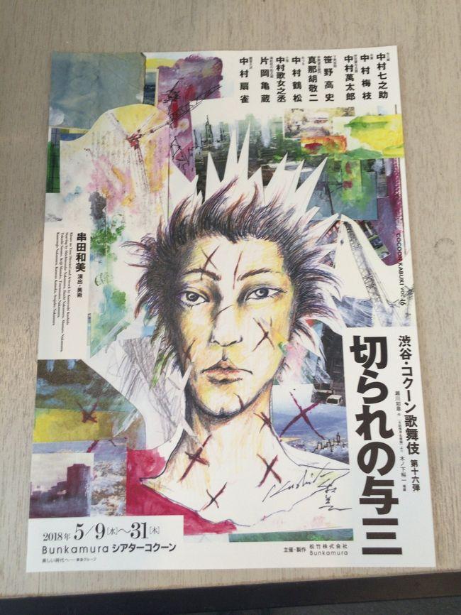久しぶりに渋谷のシアターコクーンに<br />コクーン歌舞伎を観に行きました。<br /><br />今年の演目は「切られの与三(きられのよさ)」。<br />中村七之助が立役に!<br /><br />原作の「与話情浮名横櫛(よわなさけうきなのよこぐし)」を<br />串田和美が演出するとどうなるのか?楽しみにしていました。<br /><br />題名だけだと「?」と思う方も多いと思いますが、<br />「粋な黒塀、見越しの松に~」という歌い出しで始まる<br />お富さんと与三郎の話です。<br /><br />ジャズと歌舞伎をうまくコラボさせ、<br />スタイリッシュに仕上がっていました。<br /><br /><br />