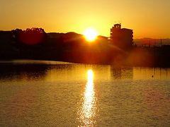 早朝散歩 安倉上の池の日の出。