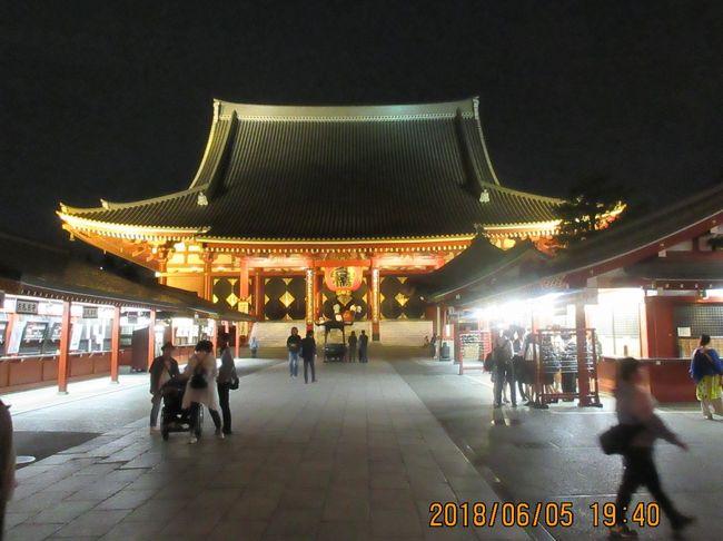 浅草にやって来ました。上野から真夏日の暑いなかをテクテクと歩いて来ました。浅草・上野は私にとって、もはや「田舎」です。生まれ育って、社会人になって世帯を持つまでを過ごしました。墨田の川で産湯(?)を使い、浅草寺の鐘を耳にして育ちました。現役時代は乗車駅から東京駅までの通勤手当が支給され、自己負担はゼロでしたが今は交通費2000円以上が掛かります。年に3~4回ほどしか来れない遠い(?)故郷になりました。<br />浅草は一年中が今で言う「イベント」だらけです。「羽子板市」「三社祭」「アサガオ市」「酉の市」。今月は「鳥越神社祭」「植木市(通称お富士さん)」と有ります。そして今や世界に知れ渡った観光地になりました。<br />上野でグルメして浅草でもと欲張りました。上野駅前の「昭和通り」を渡ってひとつ裏道に入ると「韓国料理店」「韓国食品材料店」が20軒ほどあります(韓国食料品で無い物はナイ。美味しいし安いよ)。菊谷橋・河童橋・「東京本願寺(菩提寺)」を参拝。と歩いて歩いてホテルにチエックイン(暑かった)。ホテルで一休みしてシャワーを浴びて浅草寺(せんそうじ)(観音様)」に参拝。「浅草神社(あさくさじんじゃ)(三社様)」に参拝。今回の目的はあと一つ、前から気になっていた「ウインズ」裏の通りに数十軒ある「焼き鳥・焼き豚・もつ鍋・・・etc」での飲食です。夕暮れの5時半なのに各店は八分通りの客で賑わっていました。席の空いている店を探しながらブラブラ歩きしてやっと見つけて入店しましたが、結果から言うと大失敗でした。<br />夜だから分からなかったのです。建物が夜間の灯(提灯・裸電球)で分からなくて、お店の名前(看板)にも気が付かなくて、建物の無い屋根がよしず張りの店に入ってしまった。グルメは・サンザン・でした。<br />前の旅行記「上野・浅草グルメ旅」に記していますが、もう一度の記録をお許し下さい。翌日の朝、人気のない街でそのあたりの写真を撮りました。前夜に写真を撮るのを忘れてしまった。<br /><br />表紙の写真は「浅草寺」本堂。<br /><br /><br /><br /><br /><br />