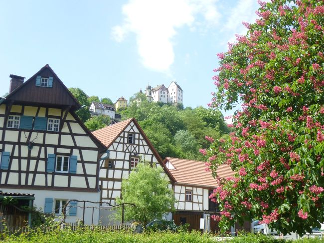 2018年ドイツの春:⑦フランケン・スイス地方の古城群:100mの高さの岩壁に立つ古城エグロフシュタイン城の姿は絵画的な美しさである。