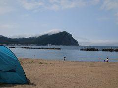 余市の海岸でキャンプ