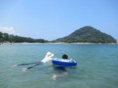 萩、城壁見ながら菊が浜海水浴場で2日間泳ぐ