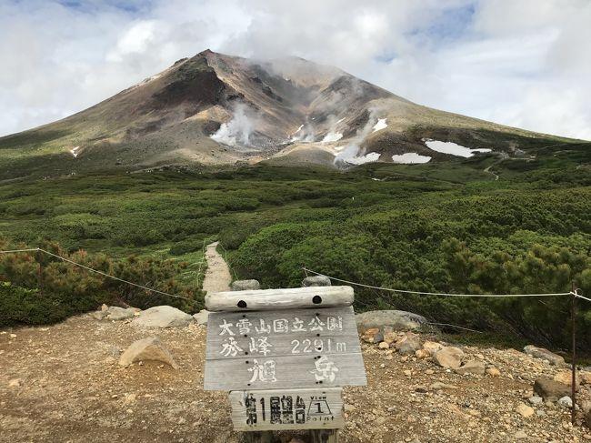 北海道8日目<br /><br />北海道旅行の楽しみの一つ、登山の日だというのに朝から雨(涙)。<br />羅臼湖のこともあるので、とりあえず旭岳ロープウェイに乗ってみました。<br />7月は大雪山の花が咲く季節なので、ロープウェイも満員状態。<br />ロープウェイ頂上駅ではトレッキングに関しての説明がありました。頂上駅は旭岳の4合目。今年はクマの目撃情報が3~4合目で多いので、帰りもロープウェイを利用するように!と言われました。<br /><br />登山の準備も万端で外に出てみましたが…雨は止まず…。<br />と言っても大雨ではないので、とりあえず行けるところまで登ってみることにしました。<br />姿見の池を過ぎたあたりから雨が止んで、レインウェアを脱いで歩くことができました。<br />頂上での絶景はあまり楽しませんでしたが、雨の中歩かなくてよかったので、良しとしましょう!<br /><br />登山行程<br />09:30 ロープウェイ頂上駅出発<br />10:00 姿見の池<br />11:15 六合目<br />11:35 九合目<br />11:50 頂上到着、軽いランチ<br />12:30 頂上を出発<br />12:40 九合目<br />12:50 八合目<br />13:10 七合目<br />13:45 姿見の池<br />14:10 夫婦池<br />14:20 満月沼<br />14:30 第一展望台<br /><br /><br /><br /><br />=====旅の概要=====<br />7/6(金) 22:00八戸港→シルバーエイト→(船内泊)<br />7/7(土)  →6:00苫小牧着、苫小牧~日高のサラブレット街道~襟裳岬~釧路へ(釧路泊)<br />7/8(日) 釧路~根室~納沙布岬~野付半島~羅臼~知床峠~ウトロ(ウトロ泊)<br />7/9(月) 午前:知床岬クルーズ船、午後:フレペの滝散策~カムイワッカ湯の滝~熊の湯<br />7/10(火) 午前:羅臼湖トレッキング 午後:知床五湖散策ツアー<br />7/11(水) 午前:ウトロ~オシンコシンの滝~天に続く道~屈斜路湖、午後:釧路川カヌーツアー<br />7/12(木) 早朝:津別峠の雲海を見る 10:30-15:30 雌阿寒岳登山<br />7/13(金) 網走(網走監獄・オホーツク流氷館)~サロマ湖~層雲峡~旭岳温泉へドライブ<br />7/14(土) 9:30-14:30 旭岳登山 美瑛~青い池~富良野<br />7/15(日) 富良野(とみたファーム・四季彩の丘)~夕張(夕張市 石炭博物館・幸福の黄色いハンカチ想い出ひろば)~苫小牧 23:59苫小牧港→シルバーティアラ→(船内泊)<br />7/16(月) →8:00八戸着 新幹線で帰京