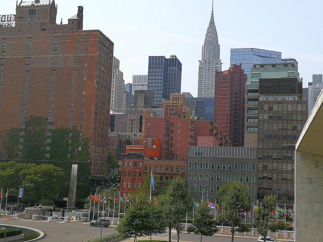 ニューヨーク旅行記最後です。<br /><br />8月27日(月)<br />午後から国連ガイドツアーに参加するために国連ビルに行きました。バークレーからは歩いて行きました。<br /><br />8月28日(火)<br />帰国の日。前日16時頃に寝てしまって、起きたのは0時頃。どこにも行けずにテレビを見ていました。朝6時から開いているホテル近くのエッサベーグルに行きました。ここのベーグルは評判通りの美味しさでした。<br />7時頃にチェックアウト。ポイント宿泊なので精算なし。滞在中にチップ6ドルを払っただけでした。地下鉄E線の「Lexington Av-53 St」までは10分歩けば行ける距離でした。1時間ほどでJFK空港へ。今回はビジネスクラスです。50000マイル/人でした。ターミナル1は何もなかったので、チェックイン後はすぐに出国。ルフトハンザのラウンジでまったり。<br />JL3便は11時40分の出発でした。<br /><br />8月29日(水)<br />12時頃に起きて、お昼の機内食をいただきました。だいたい定刻通りに到着しました。<br /><br />ニューヨーク楽しかったです。実質3日では短いと思いました。博物館、ビルの屋上とか行ってないです。あと滞在中時差ボケきつかったので早寝早起きの生活をしていました。危ない目には遭いませんでした。<br /><br />今回の旅行は飛行機はマイル、ホテル2泊はポイントを使ったので、約20万円で行けました。日本円(カード含む)135362、USD307.58でした。<br /><br />出発前はいろんな人のブログを参考にしたので、もし、誰か見た人の参考になればと思い作成しました。<br />