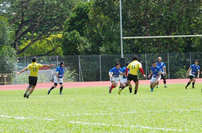 昨年マレーシアのクアラルンプールで行なった他国日本人会ラグビーチームとの親善試合。今年は我がCTRマドラスサイクロンズ結成10周年を祝してシンガポールで行うことになりました。試合は23日日曜日の午前中。日本に帰任したOBの方々が日本から参加しやすいように日本の3連休の真ん中の日を試合にしました。その結果たくさんの方がわざわざシンガポールまで日本からこの親善試合のために来てくれてありがたかった反面、僕たちインド駐在者組は24日は普通の月曜日なので仕事のために戻らなくてはいけない人も多いという慌しさ。<br />そういう僕も22日土曜日に有給を取った手前24日は休みにくいのよね。というわけで21日仕事が終わったら飛行機に飛び乗り22日の朝にシンガポール に到着。試合が終わったら23日の夜8時に飛行機に乗ってインドチェンナイに戻るというかなりの強行スケジュールになりました。<br />非常に評判がいいのにまだ乗ったことがないシンガポール航空の飛行機に今度こそは乗ろうと思ったのですが、ワンワールド、キャセイパシフィックのゴールドステータスが見えて来ているのでマイル修行も兼ねて6月のシンガポール へのサンウルヴズ応援旅行同様スリランカ航空を利用することにしました。<br />さて今回の旅の予定です(実際の時間経過はスケジュールの欄をご覧ください)<br /><br />9/21<br />チェンナイ21:15→スリランカ航空UL214→コロンボ22:40<br />9/22<br />コロンボ1:50→スリランカ航空UL306→シンガポール8:30<br />チャンギエアポート→MTR→オーチャード<br />ホテルロイヤルプラザ・オン・スコッツ 荷物を預ける<br />オーチャード→MTR→ボタニカルガーデン<br />世界遺産 シンガポール植物園見学<br />日本食材買い出し等<br />夜はチェンナイチームメンバーによる前夜祭<br /><br />★9/23★←この旅行記です<br />10:45~13:00 ラグビー親善試合<br />15:00~17:00 アフターマッチファンクション 銀座ライオンシンガポール<br />17:00~18:30 プロムナード→MTR→チャンギエアポート<br />20:10シンガポール→スリランカ航空UL309→21:30コロンボ<br />01:00コロンボ→スリランカ航空UL125→02:25チェンナイ<br /><br />9/23<br />0泊で試合に参加するT部長が朝5時前にシンガポール空港に到着しました。6時に僕の部屋に迎え入れ、2時間ほど仮眠をとってから、一緒に試合会場までタクシーで移動しました。<br /><br />あとはラグビーの試合とアフターマッチファンクションに参加してインドのチェンナイまで飛行機で戻りました。<br /><br />今回の旅行の目的ラグビーの親善試合に参加した2日目です。