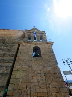 2018.8ギリシアザキントス島,ペロポネソス半島ドライブ旅行14-Solomos広場,Agios Nikolaos教会,Cafeで昼食