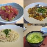 秋の沖縄本島と石垣島(32)ホテルのレストランひるぎで頂く御馳走。マグロ、島らっきょう、ソーメンちゃんぷるー、アーサ雑炊。しめて800円!?