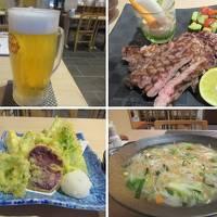 秋の沖縄本島と石垣島(38)やいま牛ステーキ、島野菜天ぷら、八重山そばちゃんぽん。