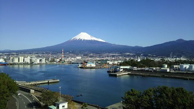 静岡へ行っても、なかなか富士山が顔を出してくれない旅が続いてしまいました。天気の良い週末、これだけ晴れていれば今度こそ富士山が見えるだろうと、中央高速を河口湖へと進みました。<br /><br />東京を出る時は晴れていたはずですが、河口湖が近づくとだんだん黒い雲が出てきました。もう見えても良いはずの富士山が、雲の中でまったく見えません。インターを降りると、紅葉にはまだ早いのに車が沢山走っています。湖に向かう橋の方面は、渋滞しています。車の流れが悪いので、横道にそれ昼食をとることにしました。<br /><br />街道から少しい奥まった細い道に、「イルバッコ・ビス」と言うイタリアンのレストランがありました。片流れの屋根にテラス席もあって、かわいい感じです。ランチメニューから、パスタとピザを頼みました。前菜からコーヒーまで、他に数組お客さんがいても静かな雰囲気で食事が出来ました。しかし、窓の外を見ると雨がポツポツ降りだしてきました。<br /><br />この天気では湖の散策は諦めて、いつもの猪之頭の山小屋へ向かうことにしました。鳴沢から峠を登って行くと、雨は本降りのようになってきました。だいぶ登り上九一色村のあたりを走っていると、道路沿いが白く見えます。まさか、止まって見ると10月なのに雪が薄っすら見えます。夏タイヤなので怖くなり、山小屋を通りすぎて富士の宮まで一気に下りました。夕闇が迫っていましたが、浅間大社や世界遺産センターを見学しました。以前にも来たことのある施設ですが、夕闇の中に明かりがともると幻想的な雰囲気でした。この日は新富士駅前へ行き、東横インに泊まりました。窓からは真っ黒な雲しか見えませんが、「富士山ビューの部屋がある」とホテルのメッセージに書かれていました。翌朝の景色を楽しみに速めに寝ました。<br /><br />朝は起きると、まず窓のカーテンを開けてみました。快晴の青空の中、富士山がドーンと目の前に広がっていました。ここまで来たら、田子の浦がすぐそばです。「田子の浦ゆ うち出でてみれば 真白にそ、、、」山部赤人の句を思い出しました。調べてみると、万葉集と新古今では歌が違うとか、昔は字も違って読んだ場所も違うとか説があるようですが、現在の田子の浦は「県営みなと公園」として整備されているようなので、そこへ行ってみました。公園は緑の芝生や大きな遊具もあり、山部赤人の万葉句碑もありました。富士山ドラゴンタワーに登ると清水港と富士山が眺められ、万葉歌人になったような気分になりました。<br /><br />地元の銘菓に「田子の月」と言う和菓子があるようなので、それをお土産に買って帰路に着きました。<br />