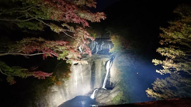 茨城県の袋田の滝で、今月からライトアップが始まったので、早速行って来ました。<br /><br />ついでに(笑)<br />水戸偕楽園下にある公園(偕楽園公園)のコスモスを見て<br />道の駅ひたちおおたでバイキングの昼食をとり<br />茨城の裏見の滝として有名な月待の滝へにも行って来ました。