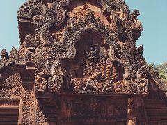 アンコールワット世界遺産の素晴らしい遺跡、バンテアイスレイ寺院