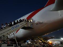 KIX-DXB EK317便 A380-800 に乗りました。エコノミーは一階席で荷物置き場みたいですねェ。