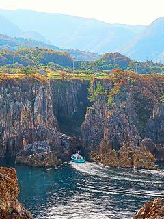 佐渡島-6 尖閣湾a 揚島遊園-展望台の眺め ☆断崖絶壁/無数の岩礁 絶景