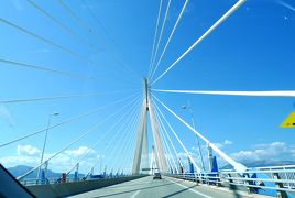 2018.8ギリシアザキントス島,ペロポネソス半島ドライブ旅行35-Rio-Antirio橋を渡り,国道48・E65号線をTolofonosへ