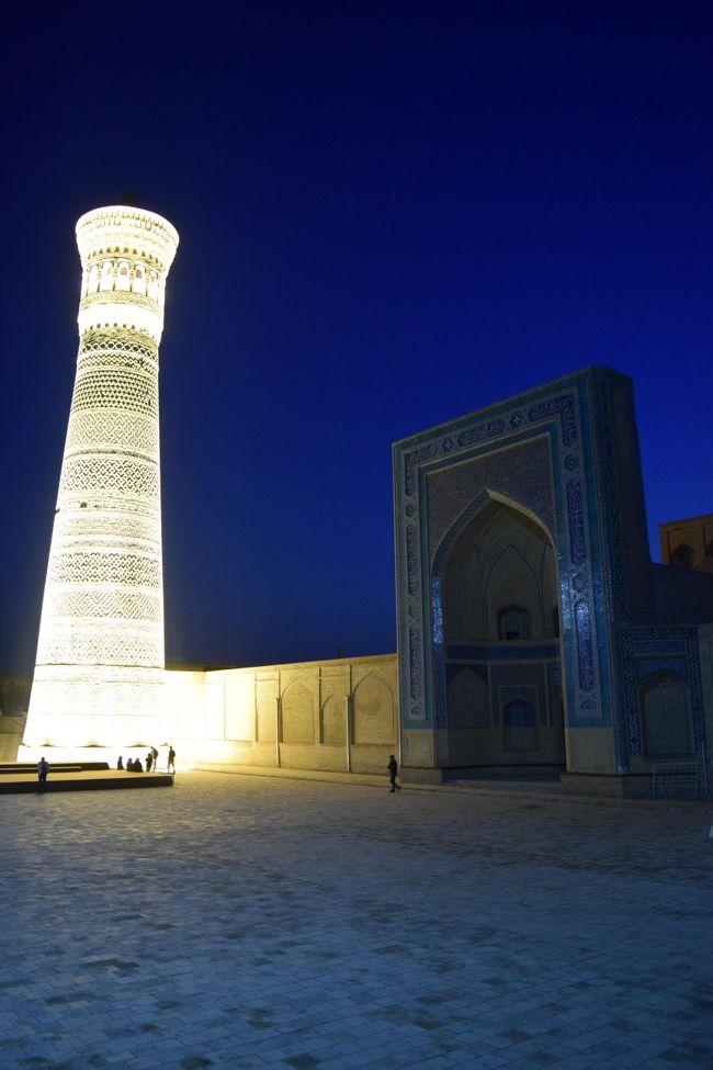 サマルカンドで十分ウズベキスタンの青を堪能してこの後訪れる所に何があるんだろう?って思ってたけど、なめてた。<br />ブハラは旧市街地に昔の街並みが残ってる。<br />写真はカロンモスクとミナレット。