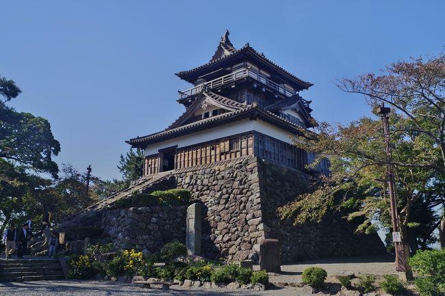 江戸時代からある天守(お城)は全国で12。北から、弘前城、松本城、犬山城、丸岡城、彦根城、姫路城、松江城、備中松山城、丸亀城、伊予松山城、宇和島城、高知城となります。<br />すでに、弘前、松本、犬山、姫路、松江の五つは行ったのであと7城。今回はそのうちの丸岡城と彦根城へ行きました。<br /><br />まず、丸岡城があるのは福井県坂井市。車で行きました。駐車場(無料)はお城のすぐ前にあってわかりやすい。お城があるところも、郊外の比較的閑散としたところになのでのんびりと見物できます。<br /><br />駐車場を出て城郭に入ってゆくと、石段があって、料金所の看板があります。石段を登って、見物料を払って、いざ天守へ。<br />遠くで見えていたときから感じていましたが、小ぶりなお城。<br />一番小ぶりな弘前城ほどではありませんが、他の10城の比べても一番小さい(たぶん)。ちなみに、一番大きいのは姫路城。これはかなり広大です。次に立派なのは松本城かな。<br /><br />靴を脱いで天守の中を上ってゆきます。例によって階段ははしごなみに急角度。かなり気を使います。<br /><br />最上階では、他の城とおなじく周囲の景色(城下町)が見回せます。<br /><br />小さい城で城郭も狭いので、1時間もあれば見物できるでしょうか。<br />丸岡城で12城のうち6つ制覇です。<br /><br />次は彦根城の。丸岡城から車で1.5~2時間くらいだったかな。<br />こちらは丸岡城よりもずっと大きい。松本城ほどではないかもしれない。<br />城郭も広くて、お堀で囲まれています。<br /><br />天守につづく石段を上がって天守に到着。ここでも見物料を支払って天守に上ります。階段は丸岡城ほど急ではありません。<br />ここでも、天守最上階からの眺めを堪能して降りてゆきます。<br /><br />城郭内では、彦根ということでひこにゃんの看板が。写真撮りました。<br /><br />ちなみに駐車場は、お堀に沿っていくつかあります。一つ一つが広くないので満車の場所も多い。今回はちょっとはなれた駐車場(有料)<br />にとめたので、お堀をぐるっと回って天守に行くことになりました。<br />帰りもお堀を回って駐車場へ。ちょっと疲れた。<br /><br />これで、現存天守7/12制覇。