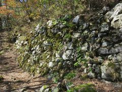 2018秋、滋賀の名城巡り(4/10):11月18日(4):小谷城(4):野面積の大石垣、楓の紅葉、麓の眺望