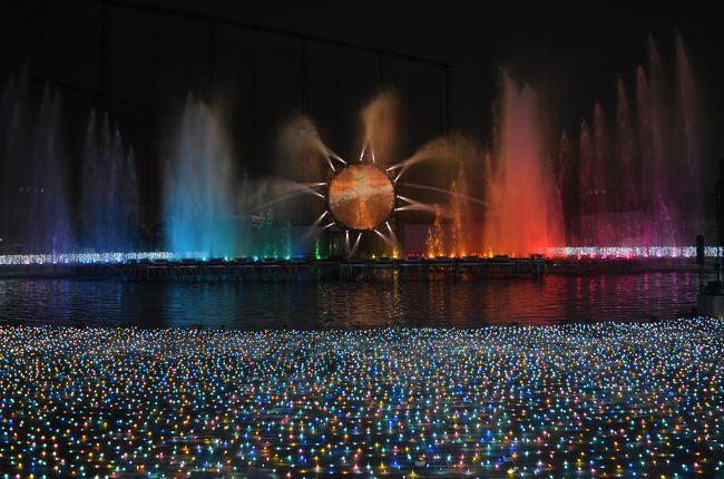 600万球のLEDを使用し、宝石色をイメージしたイルミネーション。<br />今シーズンは2010年の開催以来初めて全エリアをリニューアルして、一層輝きを増したようだ。  <br />一番人気の大噴水は、さすがに迫力が有った(動画有り)<br />