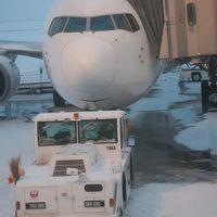 旭川空港 JAL556 16:20発 A5-classJ席で ☆夕焼け空-グラデーション-映えて