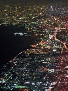 JAL556便-航跡 仙台⇒千葉⇒東京 ☆夜景がきれいな東京湾岸/アクアラインも輝き