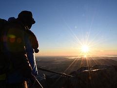 筑波山周回 登り始めは山頂でご来光