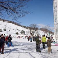 三世代で巡るスキー旅行初日 スキー場は新雪快晴