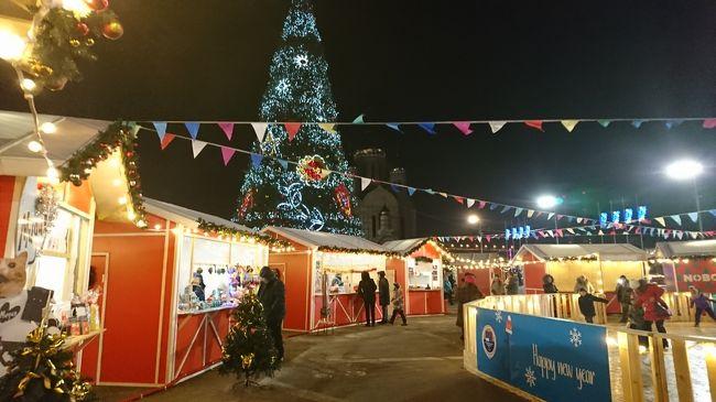 Day3 2019/1/5<br />シベリア鉄道でウラジオストクに到着した私たち。<br />この日はクリスマスイブイブの土曜日ということでウラジオストクの街もなんだか華やいだ雰囲気。<br />中央広場ではクリスマスイベントの準備が進められており、夜はウラジオストク住民でにぎわっていました。<br /><br />その他凍りついたスポーツ湾や、ウラジオストクの街が見下ろせる展望台なんかも行きました。アップダウンが激しくて坂の多い港町なんだなぁとつくづく実感。そう考えると長崎みたい。<br /><br />寒かったけど、冬のロシアはすごく楽しい!<br />「冬なのにロシア」じゃなくて「冬だからロシア!」を推していきたい、そう感じた旅行でした。<br /><br />●中央広場(クリスマスイベント)<br />●鷲の巣展望台<br />●スポーツ湾<br />●グルジア料理「サツィヴィ」<br />●北朝鮮料理「ピョンヤン」<br />●バスの乗り方<br />●ジェムチュジナホテル<br /><br /><br />【ロシアVISAの取得方法】<br />地球を駆けるテクニックvol1   ロシアビザのいろはにほ~通常VISAとeVISAどっちも個人で取ってみた話~(https://4travel.jp/travelogue/11436553 )<br /><br />【旅行記】<br />地球の駆け抜け方3~クリスマスの極東ロシア~Vol1 S7航空で極寒のハバロフスクへ。ロシア料理に舌鼓。( https://4travel.jp/travelogue/11444225 )<br />地球の駆け抜け方3~クリスマスの極東ロシア~Vol2 氷の街!ハバロフスク。凍りついたアムール川。( https://4travel.jp/travelogue/11444227 )<br />地球の駆け抜け方3~クリスマスの極東ロシア~Vol3 シベリア鉄道に乗ろう!夜行列車でウラジオストクへ。( https://4travel.jp/travelogue/11444231 )<br />地球の駆け抜け方3~クリスマスの極東ロシア~Vol4 クリスマスイブイブのウラジオストクを行く。(←本ページ)<br />地球の駆け抜け方3~クリスマスの極東ロシア~Vol5 ウラジオストクからプロペラ機で成田へ。帰国。( https://4travel.jp/travelogue/11444234 )<br /><br />フェリーで行くサハリン編もどうぞ→(https://4travel.jp/travelogue_group/13040 )
