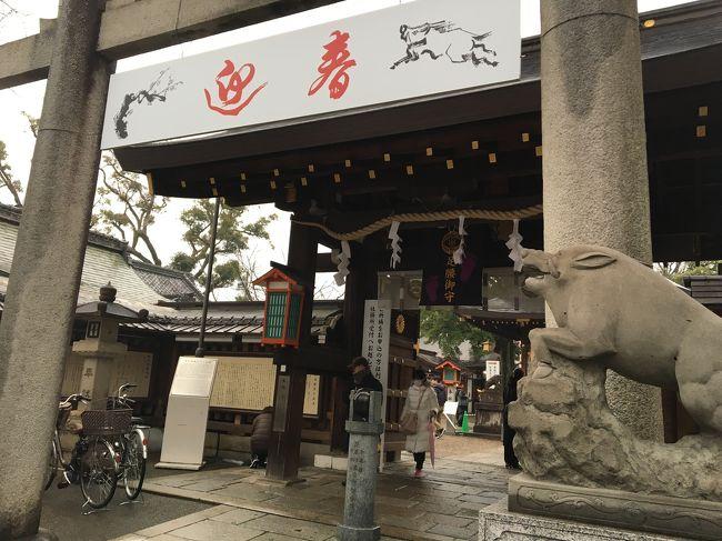 狛犬もイノシシという今年の干支で話題の<br />護王神社へいきました。<br />http://www.gooujinja.or.jp/<br /><br />お天気が雨になり寒かったのですが、<br />行列が以前より少ないとの事。<br />さっそく行列して順番を待ち、おまいり。<br /><br />次にすぐ近くにある菅原道真の産湯の井戸がある<br />菅原院天満宮神社へ。<br />梅もまだ咲いていません。<br /><br />ガン封じ社がありましたので<br />一緒におまいり。<br /><br />御所の塀が長々と続いていました。<br />御所の近辺は、位の高い貴族の屋敷跡だったのでしょうね。<br /><br />その後カフェで休憩して、<br />JR京都駅でお土産を買い、<br />新快速で自宅に帰りました。<br />