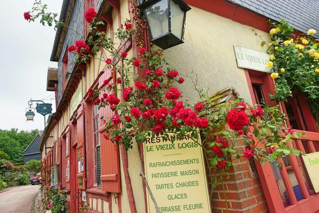6月 8日(金)<br />晴れ時々曇り<br />フランス・ドライブ 3,236km - #26 : ジェルブロワ、美しい薔薇の村です。フランス国鉄のストライキのため、全行程、レンタカーでの移動となった今回の旅。パリから北に約100kmにある別名「バラの村」と呼ばれピカルディー地方を代表するフランスの最も美しい村「ジェルブロワ」を訪れました。この村は、画家のアンリ・ル・シダネルが、ジェルブロワを薔薇で埋め尽くそうと提案し、美しく蘇りました。<br /><br />表紙の写真は、壁面のバラが美しかったジェルブロワのレストラン、オステルリー・ル・ヴィユ・ロジーです。ジェルブロワに行くなら絶対花の時期に行くことがお勧めですね。6月はバラのベストシーズン、2018年のバラ祭りは6/17(日)だったようです。 <br /><br />6月の中旬からバカンス・シーズンに入り、多くの人が訪れるようです。その前に訪れたので、人を気にせず、写真が撮れたのは良かったです。<br /><br />帰国後、主婦と生活社の私のカントリーで、2度、特集されました。<br /><br />私のカントリー No.108(2019年3月15日発行)<br /> P.68-71 フランスの最も美しい村の一つ「バラの村」<br /> バラと暮らすジェルブロワ村<br />私のカントリー No.106(2018年9月22日発行)<br /> P.110 フランスの最も美しい村の一つ「バラの村」<br /> ジェルブロワ村を訪ねて<br /><br /><参考サイト><br />フランス・美しいバラの村「ジェルブロワ」で花三昧の一日を!<br />https://www.travel.co.jp/guide/article/20912/<br />バラの村ジェルブロワで出会った温かな心<br />https://ameblo.jp/petit-village-france/entry-12301039180.html<br />www.bonvoyage.jp ? a-voir<br />ジェルブロワ | Gerberoy > 見どころ | BonVoyage<br />http://www.bonvoyage.jp/a-voir/?pvillage=gerberoy<br /><br />以下、フランス・ドライブ 3,236km の7泊9日の旅程です。<br /><br />6/01 (金) 羽田 22:55 発 AF293 → パリCDGへ<br />6/02 (土) パリCDG 04:30 着<br />(AVISレンタカー シトロエン ディーゼル車)<br />パリCDG → オーセール(198km、1時間52分)<br />□ #1 https://4travel.jp/travelogue/11369048<br />オーセール → ヴェズレー (50km、50分)<br />□ #2 https://4travel.jp/travelogue/11371707<br />ヴェズレー → ボーヌ (118km、1時間7分)<br />□ #3 https://4travel.jp/travelogue/11372987<br />ボーヌ → リヨン泊(156km、1時間23分)<br />(当初、パリCDG→リヨン間は、TGVで2時間)<br />6/03 (日) リヨン<br />□ #4 https://4travel.jp/travelogue/11374939<br />リヨン → アヌシー (138km、1時間28分)<br />□ #5 https://4travel.jp/travelogue/11376396<br />□ #6 https://4travel.jp/travelogue/11377504<br />アヌシー → クレルモン・フェラン泊(303km、2時間46分)<br />□ #7 https://4travel.jp/travelogue/11381443<br />6/04 (月) クレルモン・フェラン <br />□ #8 https://4travel.jp/travelogue/11387180<br />クレルモン・フェラン→ ミヨー橋 (225km、2時間)<br />□ #9 https://4travel.jp/travelogue/11389035<br />→ モンペリエ空港 (AVISレンタカー 車両交換、フィアット ガソリン車へ)→ アルビ泊<br />(ミヨー橋からコンク訪問は、翌日リベンジ) <br />6/05 (火) アルビ<br />□ #10 https://4travel.jp/t