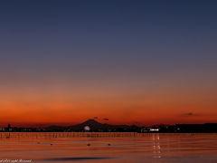 夕日撮影でふなばし三番瀬海浜公園+東京ゲートブリッジ