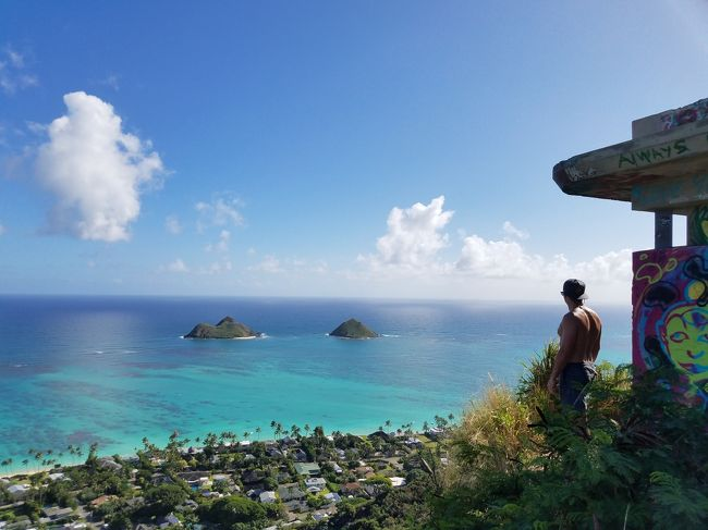 「この島は、いつも新しい驚きをくれる。ANAでハワイに行きませんか?」と綾瀬はるかが語るANAのCMに触発されマイルを使いJALでハワイへ貧乏旅行!<br />いつか登ってみたかったあの絶景ポイントやANAのCMで使われた場所にも行ってみました!<br />本当はANAで行くべきなんでしょうが・・・。<br /><br />2日目は一度登ってみたかったカイヴァリッジ・トレイルへ行ってみました。娘は登れるのかな~?!<br /><br />タクシーを5時間チャーターしいざ登坂開始。<br />