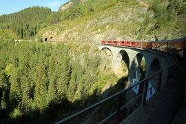 スイス3日目①世界遺産レイティッシュ鉄道アルブラ線でランドヴァッサー橋を通りクールへ