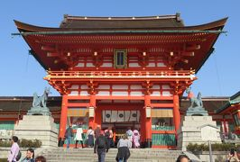 2018春、京都の花の名所巡り(13/15):3月31日(13):伏見稲荷大社(1):一番鳥居、楼門、伏見稲荷大社扁額、外拝殿、内拝殿