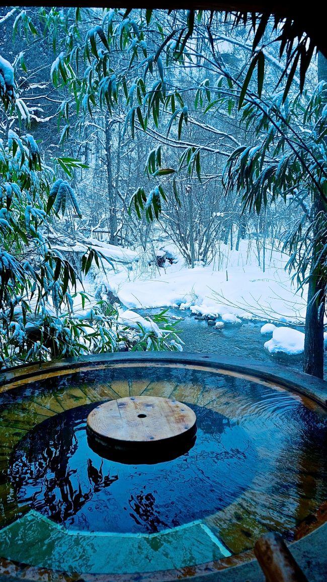 せっかく冬なので?、雪見温泉でも入りたいな~と思い温泉宿を探してみると、、、やっぱり山奥まで行かないとダメなのね。。<br />ということで、高山からさらに車で1時間の『奥飛騨温泉郷』までやってきました。<br />道路はやっぱり真っ白でしたが、除雪はされているのでスタッドレスさえ履いていれば特に問題なく宿まで到着できました。