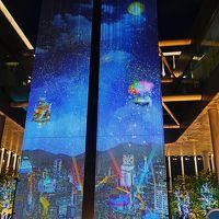 大阪-7 夜景-ライトアップされ ハルカス58階天空庭園 ☆通天閣も眼下に-冷気を感じて