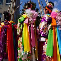 鹿島神宮の祭頭祭〜この地方に春を告げる祭りの華は、祭頭囃し。原色を多用した衣装は鮮やかですが、棒を軽く打ち合わせるだけのゆるゆる集団で〜す〜