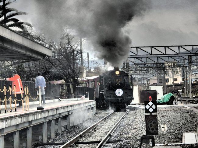2019年春の青春18きっぷシーズンが到来。<br />そしてワールド・オブ・ハイアットのポイント失効もあと2ヶ月。<br />京都鉄道博物館に行きたい!<br />そんな3要素が絡んで、青春18きっぷを使ったテツ酔狂旅でハイアットリージェンシー大阪に泊まり、京都鉄道博物館に行くという一人旅を企図して奥さんに告げると「私も行きたい」と二人旅になりました。<br />電車に結構長時間乗るけどいいの?と再確認して出かけることにしました。<br />ハイアットリージェンシー大阪をチェックアウトして、新快速で京都駅に向かいました。<br />駅前の案内所でバス往復と鉄道博物館入館券がセットされたチケットを買い求めて、憧れの京都鉄道博物館へ。<br />奥さんに色々蘊蓄語りつつ(うるさいと思ったかも)、2時間程堪能しました。<br />特に梅小路機関庫があった場所なので、蒸気機関車の充実ぶりに驚きました。<br />3階のテラスからは京都らしい背景で新幹線と新快速のコラボを楽しみ、トドメはC56の迫力ある走行を間近で堪能しました。<br />京都へ来たら必須のイノダコーヒ店でサンドイッチの昼食とケーキセット。やっぱり美味しいですね。<br />帰路は接続待ちで乗継が崩れそうになりましたが、何とかセーフ。<br />最後は静岡から新幹線で俗に言うワープして青春18きっぷの旅はフィニッシュしました。