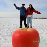 2019 爺とお嬢の北海道 リンゴに乗ったょ   (o^—^o)ニコッ