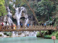 のんびりルアンパバーン 3.  象乗り、水遊び、クアンシーの滝 現地ツアー