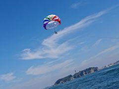 江ノ島でパラセーリング おばちゃん飛びます