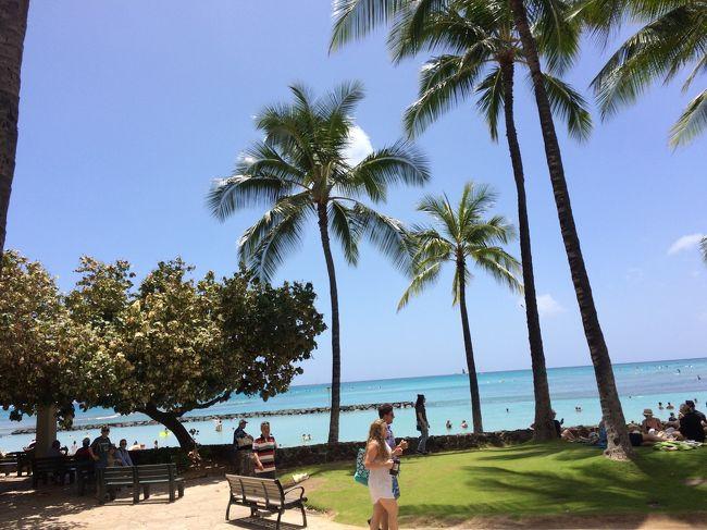 初めて特典航空券を使いハワイへ。<br /><br />最初の5泊は、ロイヤルクヒオに宿泊。<br />残り3泊は、ヒルトンタイムシェア体験でグランドアイランダーに宿泊。<br /><br />今回もグルメと買い物中心になりましたが、ハワイにいるだけでHappyになれる旅でした。<br /><br />まずは1日目。