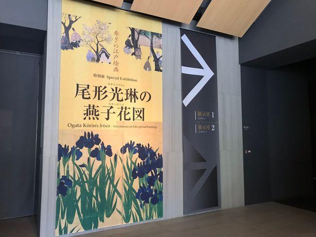 根津美術館では毎年 庭園のカキツバタが満開を迎える初夏に合わせて国宝「燕子花図屏風」特別展が開催されます。<br />なかなか行く機会のなかった特別展を今年初めて観賞することができました。<br />早い時期に行ったので庭園のカキツバタはまだ咲いてはいませんでしたが豪華な屏風絵や古美術にすっかり魅せられ日本庭園では緑豊かな中をゆっくり散策することができました。<br /><br />特別展「尾形光琳の燕子花図」<br />     2019年4月13日~5月12日<br />         [入館料]  一般  1300円     学生  1000円<br />