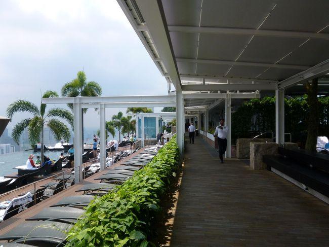 翌日に帰国を控えて、シンガポールで丸1日過ごせる最終日。<br /><br />悔いの残らない様に、朝から思いっきりインフィニティプールで楽しもう。<br />せっかくマリーナベイサンズに宿泊しているのだから。<br /><br />【ツアー】<br />なし(HISオンライン予約「正規割引航空券 シンガポール航空」)<br />【日程】<br />07:00 朝食「Rasapura Masters」<br />07:50 マリーナベイサンズ インフィニティプール<br />11:40 昼食「SPAGO POOLSIDE」<br />16:00 夕食「Rasapura Masters」<br />17:00 レインオキュルス<br />20:00 スペクトラ<br />マリーナベイサンズ泊
