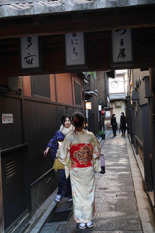 2月6日<br /><br />生憎の雨降りだったがめげずに計画通り桂離宮、松尾大社、祇園<br /><br />夜は祇園のバーも体験