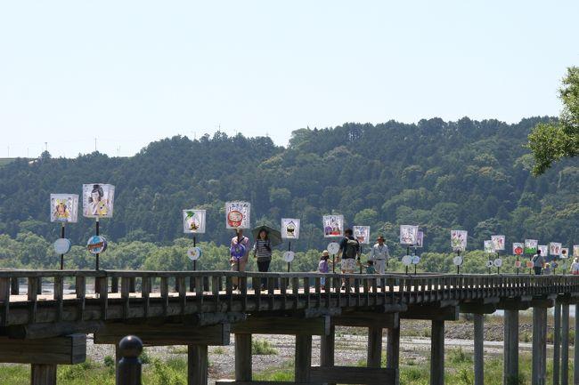 島田市:蓬莱橋のぼんぼり祭り。久し振りに行って来ました。<br />ギネスにも登録されている木の橋。<br />30℃超えの真夏日、五月としては厳しかったです。<br /><br />徳川幕臣が牧之原茶園開拓用に作られた橋。<br />http://shimada-ta.jp/event/event_detail.php?id=20
