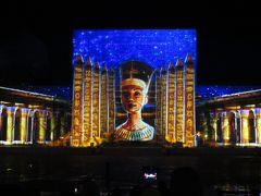 2019春、ウズベキスタン等の旅(14/52):4月24日(12):サマルカンド(13):レギスタン広場、レーザー光線の絵巻物