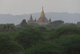2019春、ミャンマー旅行記(21/25):5月26日(6):バガン(15):丘の上からの遺跡と夕日、アーナンダ寺院、ダマヤンジー寺院