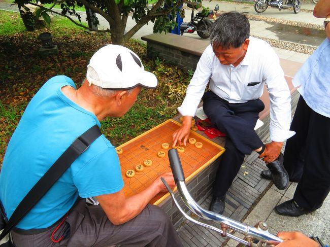 公園で中国象棋に参戦した♪東関古渡遊船のチケット売場が有り、船も停泊してたけど♪2019年6月 中国 揚州・鎮江 7泊8日(個人旅行)14
